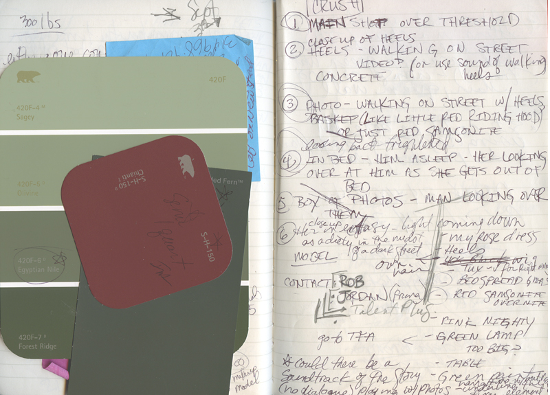 Background image for New Work production credits page showing notes taken while working on pieces.